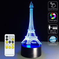 ingrosso 3d torre eiffel led-Telecomando scatola al minuto Torre Eiffel di notte della lampada 3D Optical RGB luci dimmerabili DC 5V batteria IR