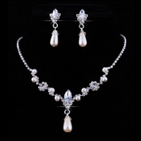 Wholesale Purple Bridal Jewelry Sets Pearl - Bridal Wedding Faux Pearls Rhinestone Water Drop Necklace +Earrings Jewelry Set