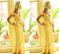 estampas africanas sereia vestidos venda por atacado-Aso Ebi estilo africano Mulheres Prom Yellow Lace Mermaid Prints Africano Tranças nigeriana vestidos de noite Gana Prom Dresses Moda