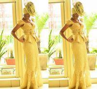 afrikanische drucke meerjungfrau kleider großhandel-Aso Ebi Stil Afrikanische Frauen Abendkleider gelbe Spitze Mermaid Afrikanische Drucke Borten Nigerian Abendkleider ghanaischen Mode Abendkleider
