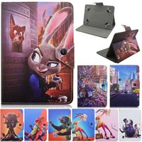 Wholesale Ipad2 Cartoon Case - Universal Tab PU Leather case of Cartoon crazy animals City pattern 3D printing smart srand for ipad2 3 4 5 6 & 7 inch Tbs Tablet