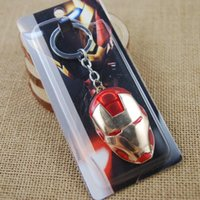 Wholesale Ironman Key Chains - Iron Man Mask Metal Keychain Red Color Marvel Super Hero Figure Key Chain the Avengers Ironman Toy Accessories Keyring Gift