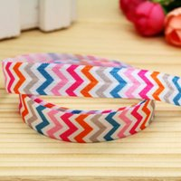 """Wholesale Chevron Items - 5 8"""" 16mm Chevron Colorful Fold Over Elastic-FOE Printed Ribbon for Hair Bow DIY Craft Baby Item A2-F-944"""