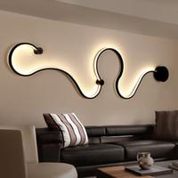 éclairage led achat en gros de-Date Creative Acrylique Courbe De Lumière Serpent LED Lampe Nordic Led Ceinture Applique Murale Pour Le Décor