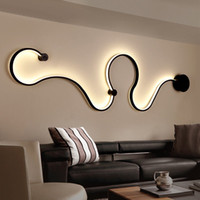 Wholesale wall lighting for bedrooms - Newest Creative Acrylic Curve Light Snake LED Lamp Nordic Led Belt Wall Sconce For Decor