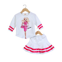 Wholesale Twins Clothing Boys - Wholesale- Retail New arrived spring Fashion Barbie girls clothing set adorable twins set Girls sports outfit drop shipping