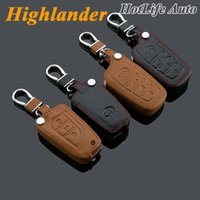 Per il 2008-2012 2013 2014 Toyota Highlander Car Keychain genuino in pelle di cuoio chiave Fob Cover Car Smart Car Accessori auto dell'anello chiave
