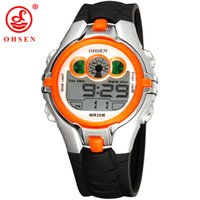 ingrosso cronografo sport acquatici-Vendita calda OHSEN LED Digital Watch Chronograph Alarm 30M Water Resistant Orange Bambini Orange Fashion Sport orologio da polso per regalo