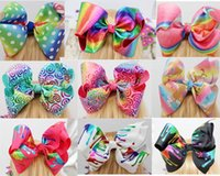Wholesale Rainbow Dance - HOT 12 style available ! sparkling 8inch jojo Metalic Foil Rainbow Holographic hair Bow with clip Cheerleading Dance for teens girls 10pcs