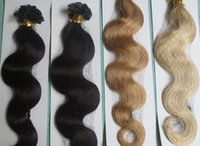 5A Grade 10-28 '' Body Wavy 0.5g * 200s Black Brown Blonde Mixed Ombre Colors 100% Indian Remy Human Extensions Flat Tip