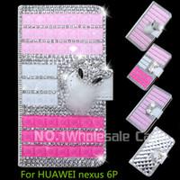 Wholesale Nexus Crystal - 3D Luxury Bling For HUAWEI nexus 6P Flip Bling leahter case cover Diamond crystal holder wallet