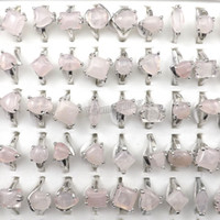 Wholesale Pink Rose Quartz Jewelry - Fashion Pink Crystal Rings Women's Jewelry Rose Quartz Rings 50pcs Wholesale