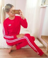 Wholesale Two Piece Women Ski Suits - The letter stamp sweater suit female Sweatshirt Sport Suits Set Cotton Jogging Tracksuits Sportwear Plus Size two piece suit casual sport
