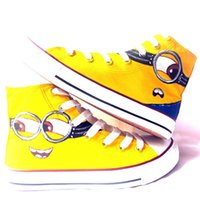 Wholesale Minion Items - New Arrival Cartoon Minions Hand Painted CanvasShoes,OutdoorLeisureFashionSneakers,UnisexCasualShoes Hot Items Cute Design