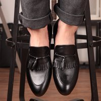 Wholesale Korean Oxford Shoes - Slim Pointed Toe Quality Leather Tassel Dress Oxfords Shoes Mens Slip-on Flats Wedding Party Charming Shoes British Korean Style Trendy 2015
