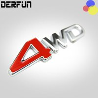 Wholesale 4wd Stickers - Car rear side metal Decal 4wd 4x4 Emblem Sticker badge 3D Logo Chrome off-road car styling 4WD Red For SUV Trunk 12.5x 3.2 cm