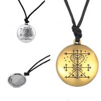 Wholesale Tibetan Steel Necklace - Wholesale- Dawapara Tibetan Silver Plated Maman Brigitte Voodoo Loa Veve Pendant Money Talisman Wealth Amulet Jewelry Male Necklace