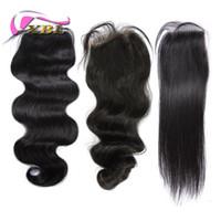 perulu dalga saç uzantıları toptan satış-Üst Dantel Kapatma (4 * 4) Brezilyalı Perulu Hint İnsan Saç Kapatma Vücut Dalga Doğal Renk Saç Uzantıları Saç Adet XBL Saç