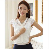 Wholesale New Korean Women Fashion Blouse - Ladies Shirts New 2015 Korean Style Fashion Women Blouse Chiffon Shirts Lace Blouses Tops Blusa Femininas Blusa De Renda
