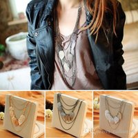 Wholesale wholesale long beaded necklaces - Korean Fashion Jewelry Bohemia Multilayer Leaf Necklace Pendant Womens Long Sweater Chain Beauty Par C00480