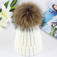 Wholesale mink hat grey - 2017 High Quality Real 15cm Mink Ball Pom Pom Beanies Cap Winter Hat For Women New Female Thick Wool & Cotton Warm Knitted Caps 02