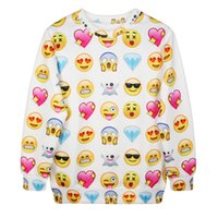 Wholesale Cute Christmas Couples Gifts - Emoji print sweatshirt cute emoji hoodie sweater for Couples shirt Xmas gifts Hallowee clothes EMS DHL free shipping