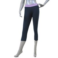 Wholesale Light Gold Leggings - Navy Blue and Light Purple Waist tight fitting Two Tone Band Front 3 4 Leggings Jazz Dance Pants Ladies and Girls Full Sizes