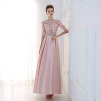 Wholesale Half Sleeved Long Prom Dress - Robe De Soiree 2016 New Luxury Lace Satin Half Sleeved Long Evening Dress Elegant Prom Dresses Mother of The Bride Formal Dress