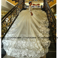 Wholesale Crystal Ball Gowns Wedding Dress - New Muslim Ball Gown Wedding Dresses 2016 Luxury Lace Beaded Applique handmade 3D floral Long Sleeve cathedral arabic Wedding Gowns