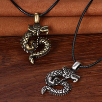 Wholesale Dragon Dog Tags - dragon nordic viking pendant necklace dragon jewelry pagan pendant necklace nordic talisman amulet christmas gift For Best Friend