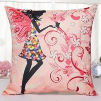 Flower Butterfly Girl Cojín Cover Angel Pillow Case Cojines de almohada chica para coche Sofa Home Decoración almohadas Cover 45 * 45cm