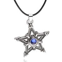 Wholesale Wholesale Blue Sapphire Necklaces - Animation Cartoon black rock shooter Imitation blue gem sapphire necklace Pentacle Pentagram pendant Five pointed star necklace 2017 x320