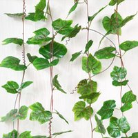 Guirnalda De La Boda De Borgoña Baratos-2.7 m Borgoña Plástico Hoja de Uva Hojas Verdes Ornamento de la Pared Falsa Artificial Ivy Hanging Vines Garland home Wedding Decor