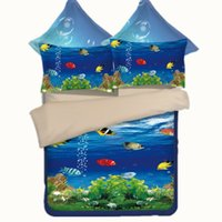 Underwater World Fish Printing Literie Ensembles Twin Full Queen King Size Couettes Duvet Oreiller Shams Consolateur Seagull Dolphin Bird Beach Seaside