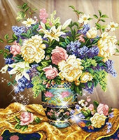2016 diy Completo diamante de diamantes Peony Rose Lily Vaso cuadro Homedecor diamante Paintingdiamond mosaico regalo crossstitch