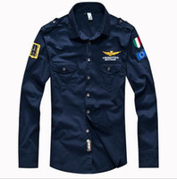 Wholesale Men Polo Shirts Clothes Wholesale - 2016 Sales Air force embroidery long sleeve men polo shirts Fashion summer cotton Army polo shirts male tees Men's Clothing mix order