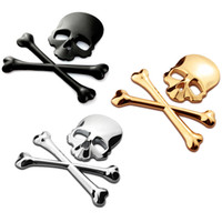 Wholesale 3D Skull sticker Metal Skeleton Crossbones Car Motorcycle Sticker Label Skull Emblem Badge car styling sticker accessories decal