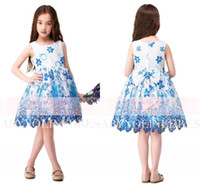 Wholesale Girls Shorts Only - In Stock Only $49 Short Flower Girl Dresses Lovely Cute Jewel Neck With Blue Flower Sash Girls Kids Christmas Communion Birthday Gown CPS312