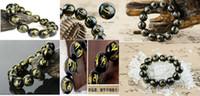 18 mm yeşim toptan satış-Tibet Doğal Siyah Kalsedon Yeşim Buda 6 Kelimeler Dua 8mm-18mm Boncuk Bilezik
