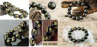 18mm jade großhandel-Tibet Natural Black Chalcedon Jade Buddha 6 Worte beten 8mm-18mm Perlen Armband