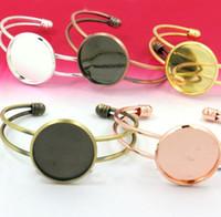 Wholesale Antique Cameo Bracelets - Min Order 20pcs Wholesale ANTIQUE BRONZE 20MM Cabochon Cameo Setting Diisc Adjustable Cuff Bangle and Bracelets Blank Settings