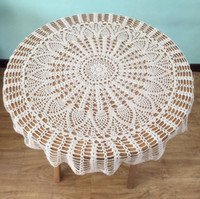 Wholesale Round Crochet Tablecloth - Classic Pineapple crochet pattern table cover, popular round tablecloths for Mom, 100% handmade table topper nightstand cover for home deocr