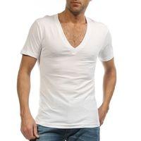 Wholesale Men Wholesale V Necks - Wholesale-Undershirt for Men Dress Shirt Deep V Neck Fanila T Shirt for Camiseta Hombre 95% Cotton Ondergoed Sexy White S-XXXL G 2458