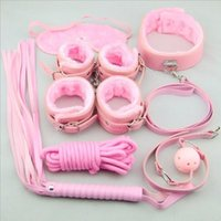 Wholesale Set Handcuff Ball Whip - 7 pcs Leather plush SM Restraints Bondage Set Fetish Collar Whip Rope Ball Mask Handcuff Sex Products juguetes sexuales