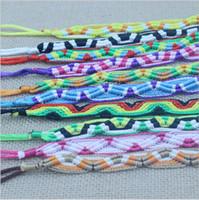 Wholesale Couple Wristband Bracelets - Wholesale colorful woven rope bracelets handmade bracelet Men Women Couple Wristband Friendship Bracelet 100pcs Lot