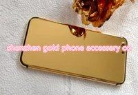 peles do iphone 6s venda por atacado-verdadeiro ouro Dubai chapeamento Voltar tampa da caixa da pele da bateria do iPhone para a porta de 7+ gravura profunda, ouro 6s gravura cristal laser, cristal SE ouro