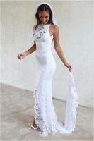 Wholesale Maxi Dresses White For Beach - 2017 White Backless Mermaid Wedding Dresses Lace Garden Summer Long Cheap Split Boho Maxi Bridal Gowns for Girls