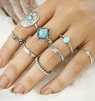 Women Retro Knuckle Ring Sets 8piece / set Blue Stone Turquoise Bijoux Big Stone Rings Midi Rings Joint Ring Sculpté Heart Party Fashion