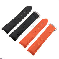 Wholesale Silicone Rubber Band Watches - 20mm 22mm Watch Strap Bands Men Women Orange Black Waterproof Silicone Rubber Watchbands Bracelet Clasp Buckle For Omega Planet-Ocean