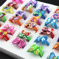 Wholesale Butterfly Fimo - 2016 Children's Cartoon Butterfly Rings Fimo Polymer Clay Jewelry Rings Wholesale For Girls Christmas Birthday Gifts Rings